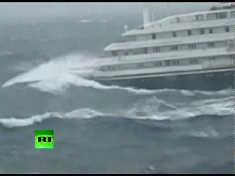 Cruise ship slammed by giant waves