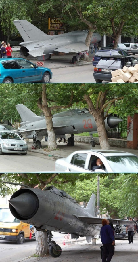 Airplane parked on the street